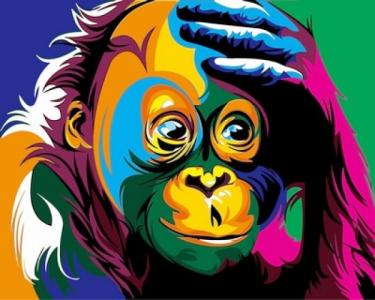 Картины по номерам Радужная обезьяна