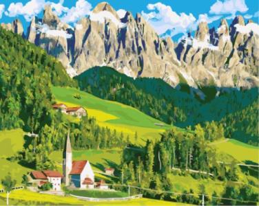 Картины по номерам Домик в Альпах