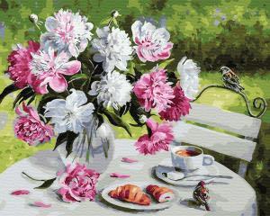 Картины по номерам Завтрак с пионами