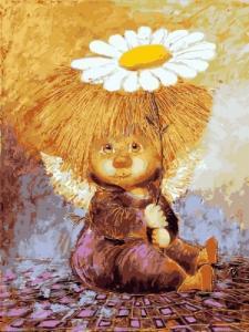 Картины по номерам Солнечный ангел с ромашкой