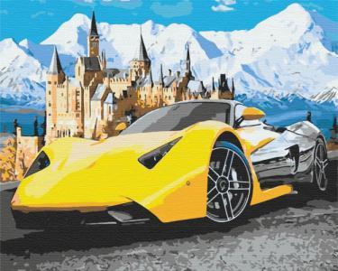 Картины по номерам Lamborghini у замка