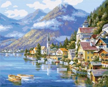 Картины по номерам Деревня у подножья горы