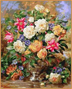 Картины по номерам Лилии и желтые розы (в раме)