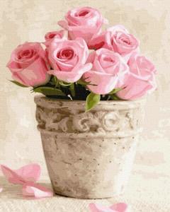 Картины по номерам Розовые розы в горшочке