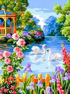 Картины по номерам Лебеди на пруду