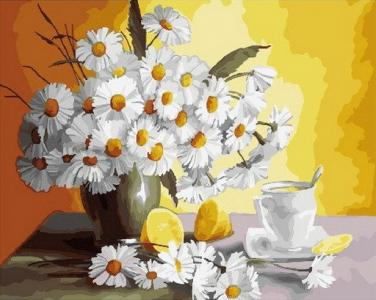 Картины по номерам Ромашки и лимоны