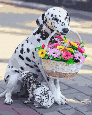 Картины по номерам Далматинець з квітами