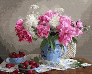 Картины по номерам Пионы с ягодами