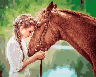 Картины по номерам Девушка и лошадь