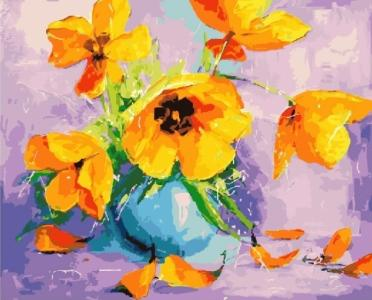 Картины по номерам Желтые тюльпаны в вазе