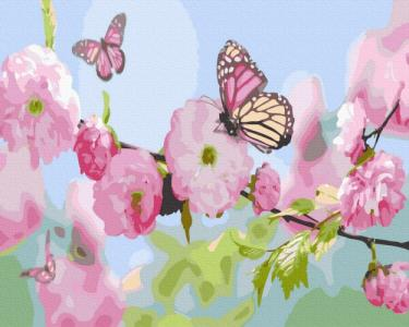 Картины по номерам Бабочки в цветах сакуры