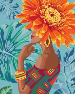 Картины по номерам Девушка - тропический цветок
