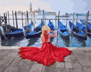 Картины по номерам Девушка у причала Венеции