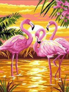 Картины по номерам Фламинго на закате