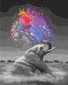 Картины по номерам Слон с яркими красками