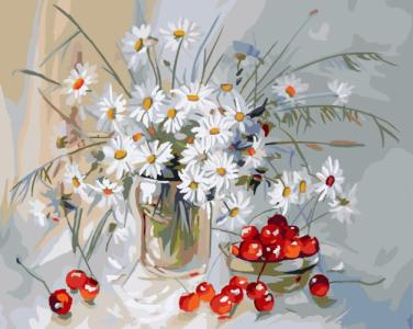 Картины по номерам Ромашки и вишня