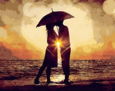 Картины по номерам Поцелуй на закате