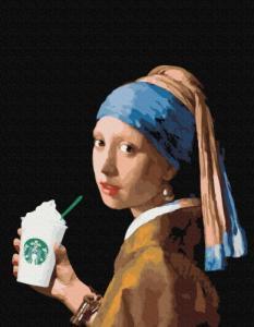 Картины по номерам Девушка с двойным латте
