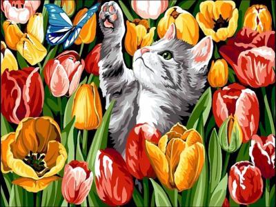 Картины по номерам Котенок в тюльпанах