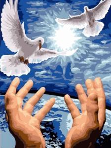 Картины по номерам Пара голубей