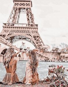 Картины по номерам Встреча с видом на Эйфелеву башню