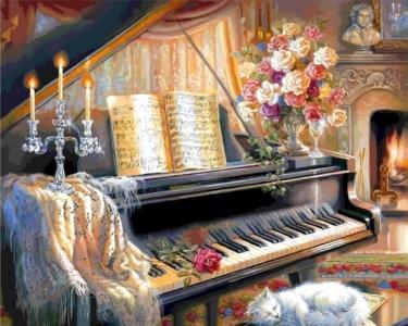 Картины по номерам Музыкальный вечер у камина