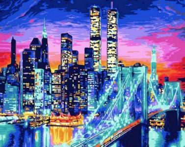 Картины по номерам Бруклинский мост в огнях