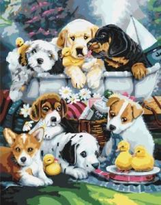Картины по номерам Зграя щенков