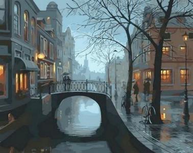 Картины по номерам Огни дождливого города
