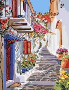 Картины по номерам Улочка греции