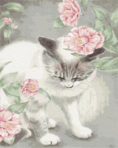 Картины по номерам Киця в квітах