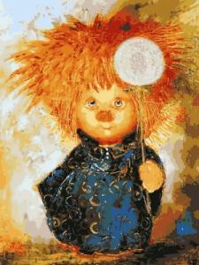 Картины по номерам Солнечный ангел с одуванчиком