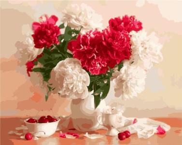 Картины по номерам Красно-белые пионы и вишни