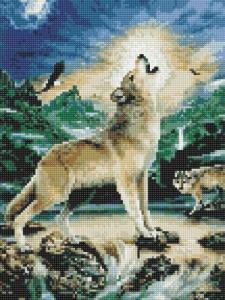Алмазная мозаика Волк при луне