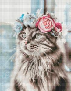 Алмазная мозаика Кошка в веночке