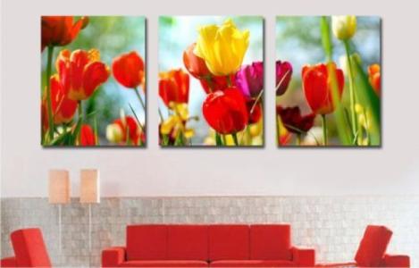 Модульные картины Садовые тюльпаны