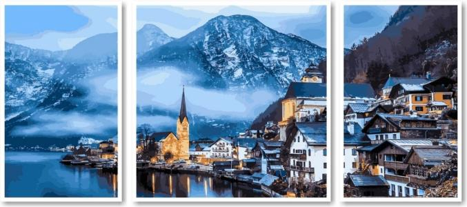 Модульные картины Триптих Зимняя Австрия