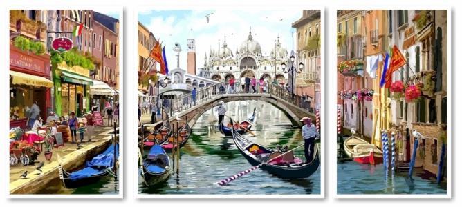 Модульные картины Триптих Каникулы в Венеции