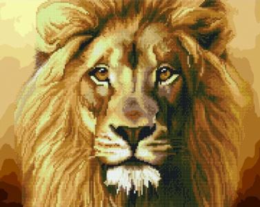 Алмазные картины 2 в 1 Могучий лев