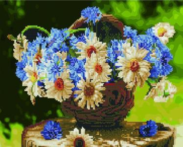Алмазные картины 2 в 1 Полевые цветы в корзине