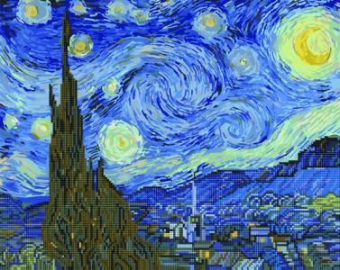 Алмазные картины 2 в 1 Звёздная ночь. Ван Гог
