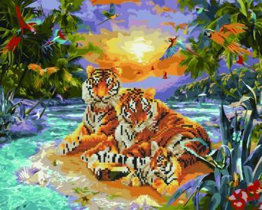 Алмазные картины 2 в 1 Семья тигров
