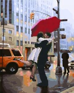 Алмазные картины 2 в 1 Поцелуй под дождем