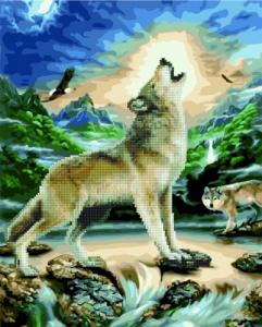 Алмазные картины 2 в 1 Вой волка